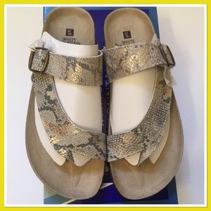 1f1982e706b3cd White Mountain Shoes - White Mountain Carly Gold Exotic Sandals New 8